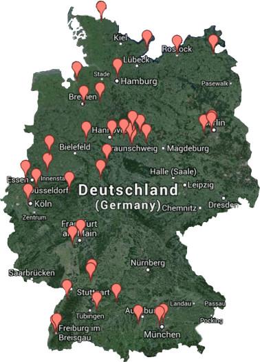 Karte: Discgolf-Vereine in Deutschland