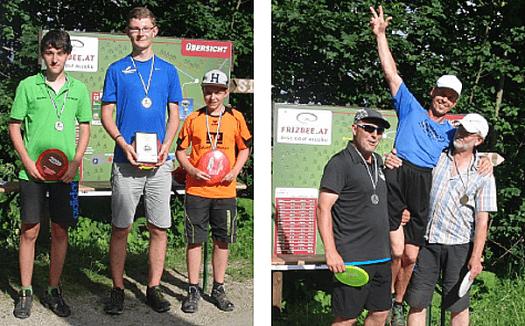 Die Juniorensieger (v.l.)  M. Abrell, H. Streit  und H. Wüllner sowie die GM-Gewinner W. Kraus, M. Fohlert und R. Haag.